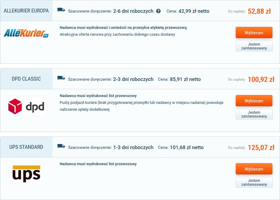 ile kosztuje kurier do Niemiec